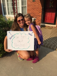 "My mini on our ""First Day of Preschool"", or at least what we thought was our first day!"